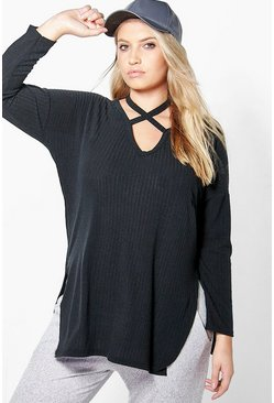 Plus Julia Cross Neck Strap Rib Top