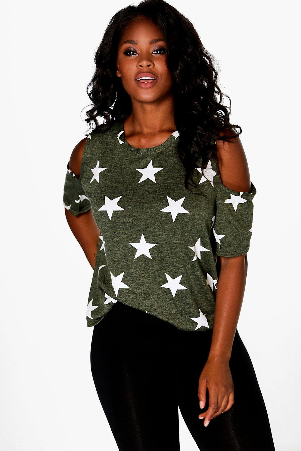 Plus Amelia Star Print Cold Shoulder Knitted Tee