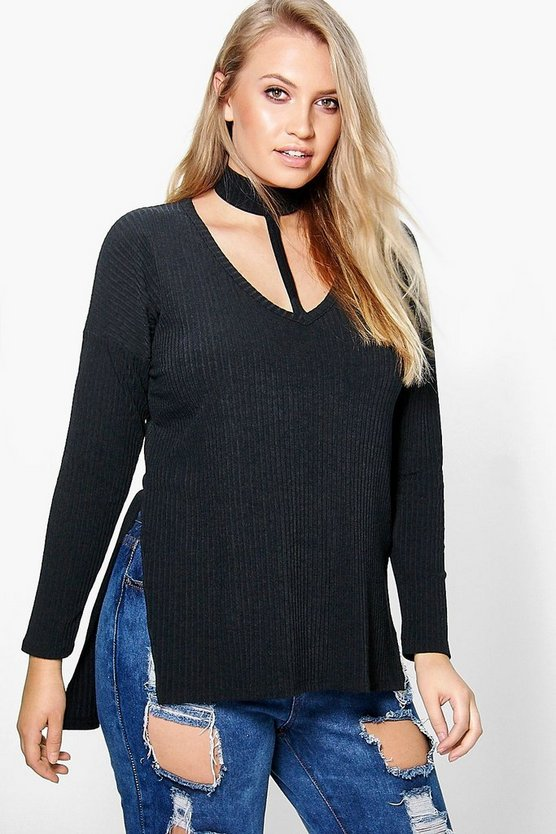 Plus Charlie Choker Detail Rib Top