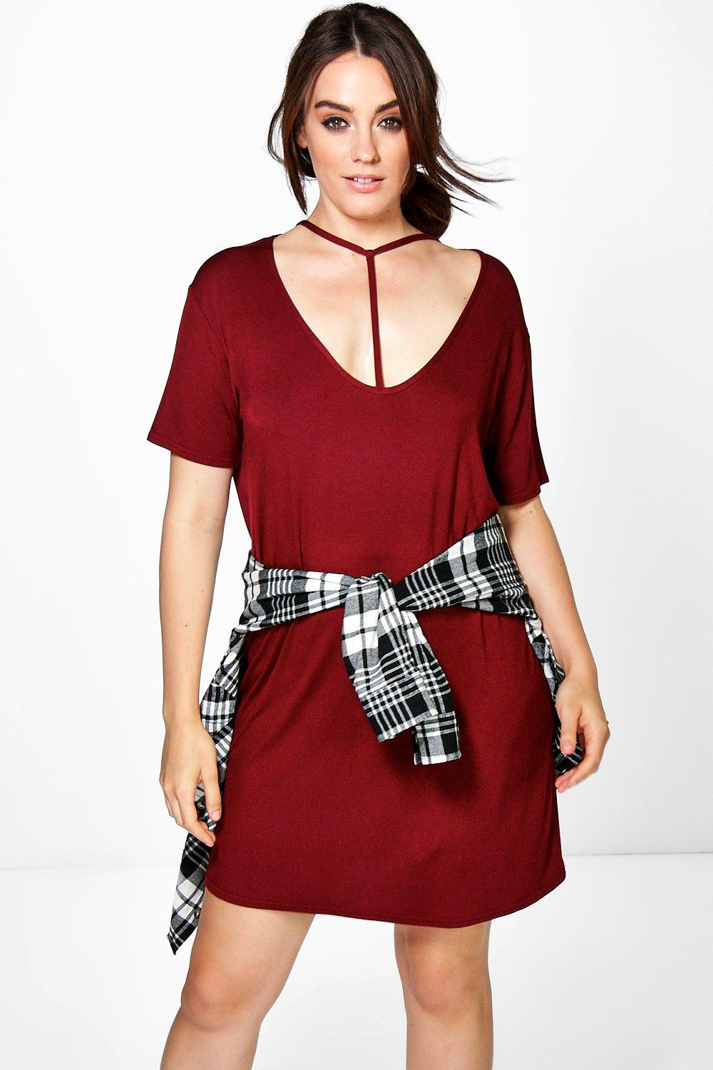 Plus Oana Strappy Neck Shift Dress