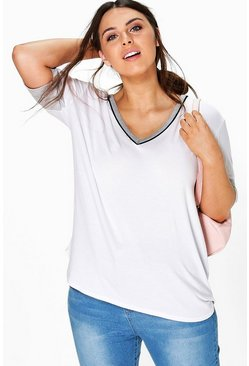 Plus Eva V Neck Binding Tee