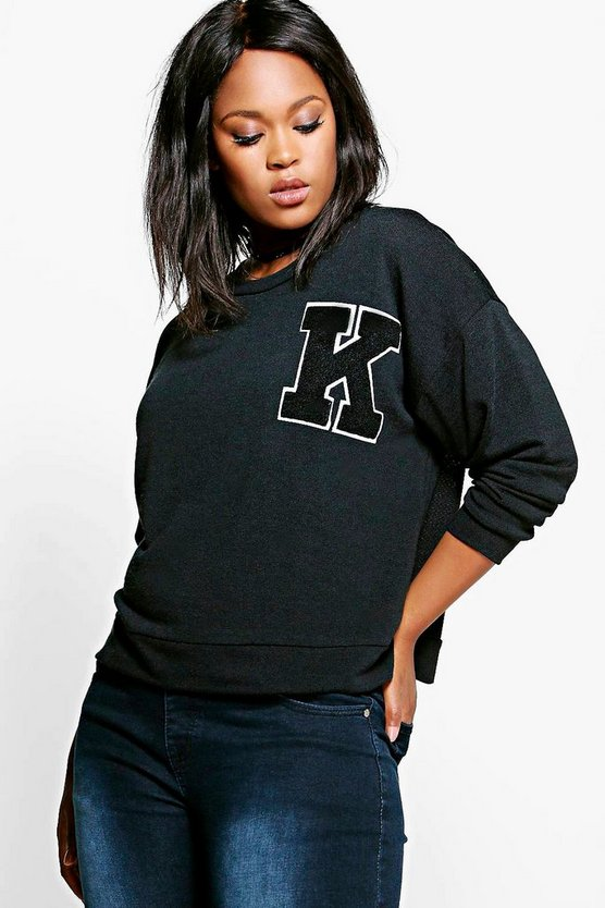 Plus Tilly 'K' Badge Sweat Top
