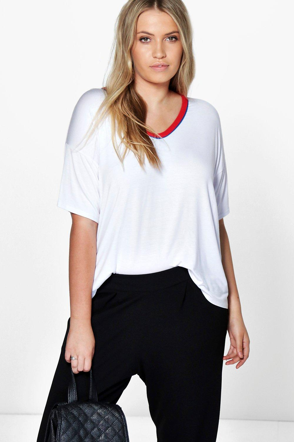 Plus Lexi V Neck Contrast Binding Tee