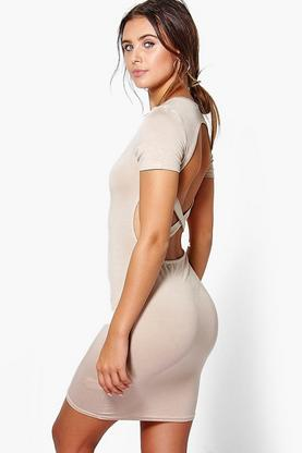 Petite Roisin Cross Backless T-Shirt Dress