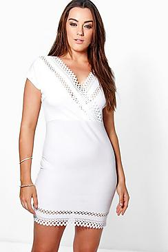 Plus Claire Laser Cut Wrap Dress