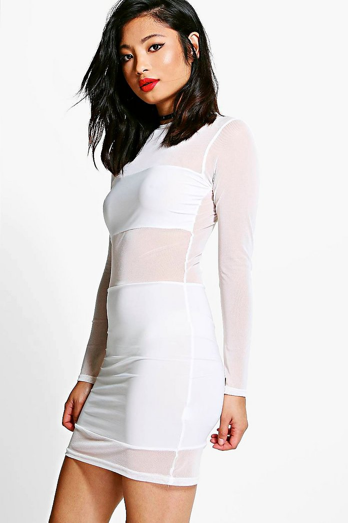 Petite Cindy Mesh Panel Bodycon Dress