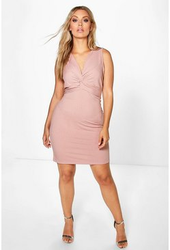 Plus Lottie Knot Front Rib Dress
