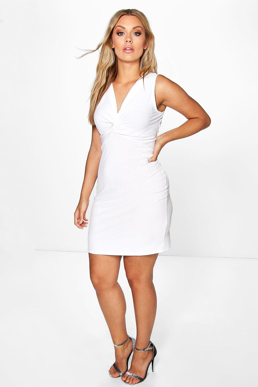 Lottie Knot Front Rib Dress - white