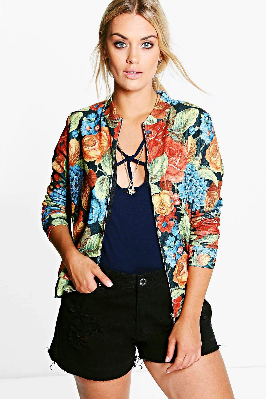 Melanie Dark Floral Bomber Jacket multi