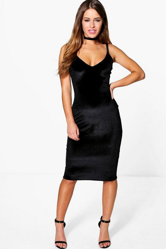 Petite Polly Velvet Strappy Midi Dress
