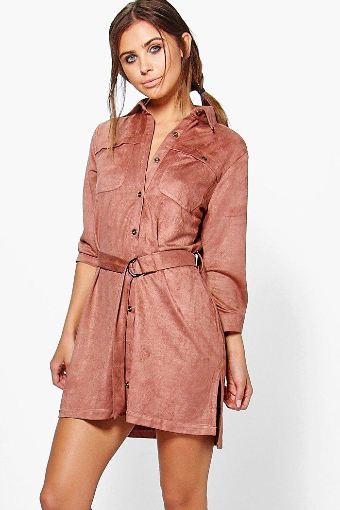 Beki Utility Belted Pocked Shirt Dress  berry