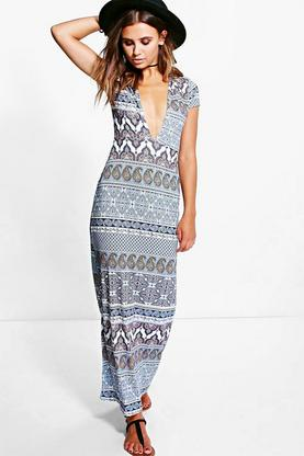 Petite Tilly Plunge Neck Cap Sleeve Maxi Dress