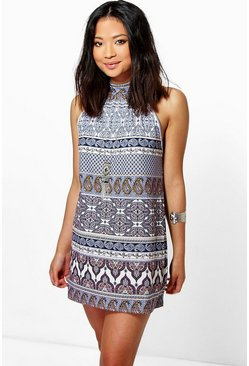 Petite Rosie Printed High Neck Shift Dress