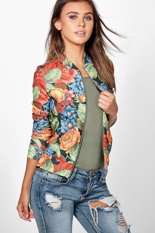Ella Dark Floral Bomber Jacket multi