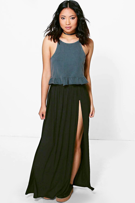 Carla Jersey Split Maxi Skirt black