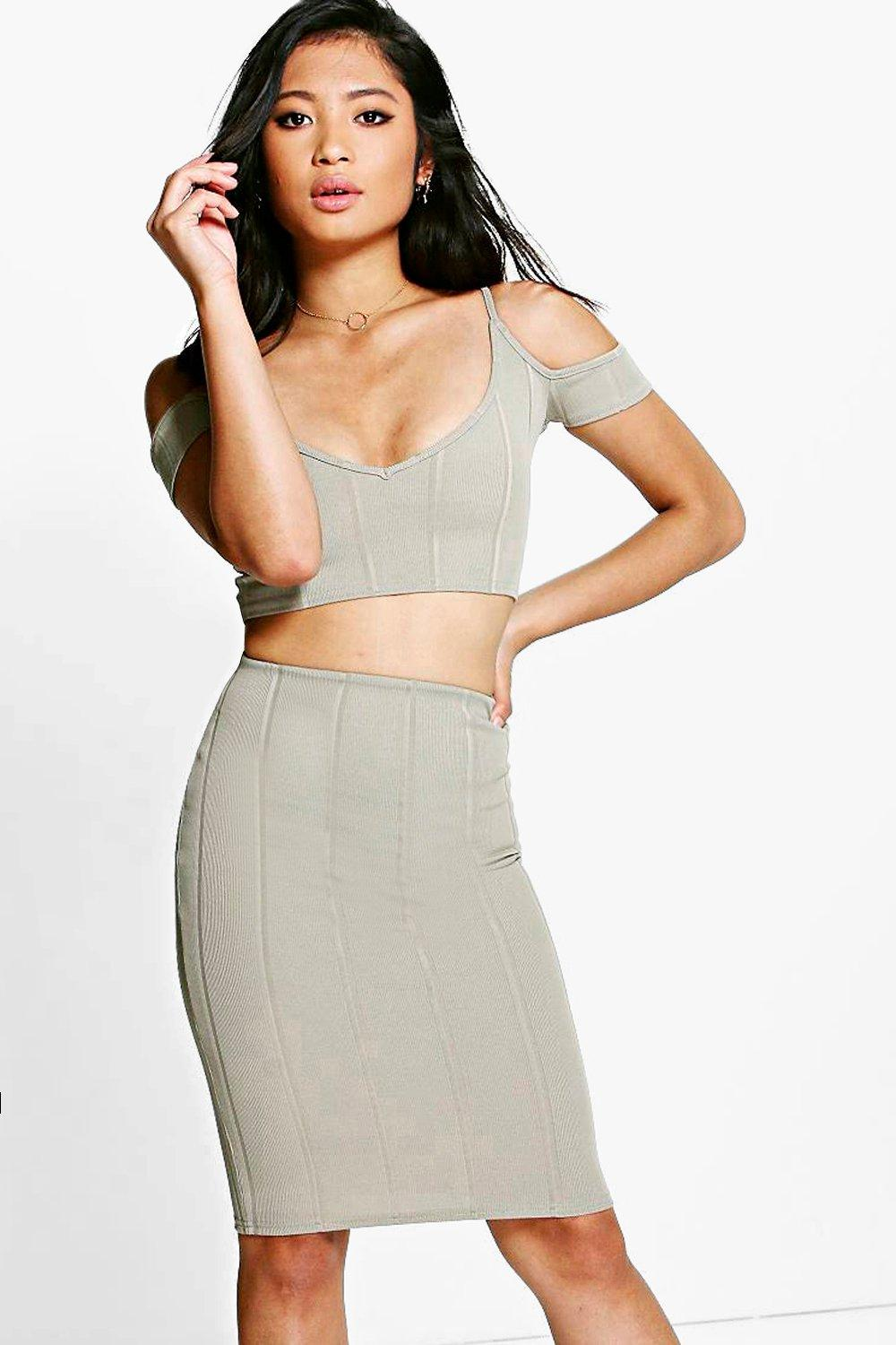 Petite Lily Bandage Crop + Midi Skirt Co-ord