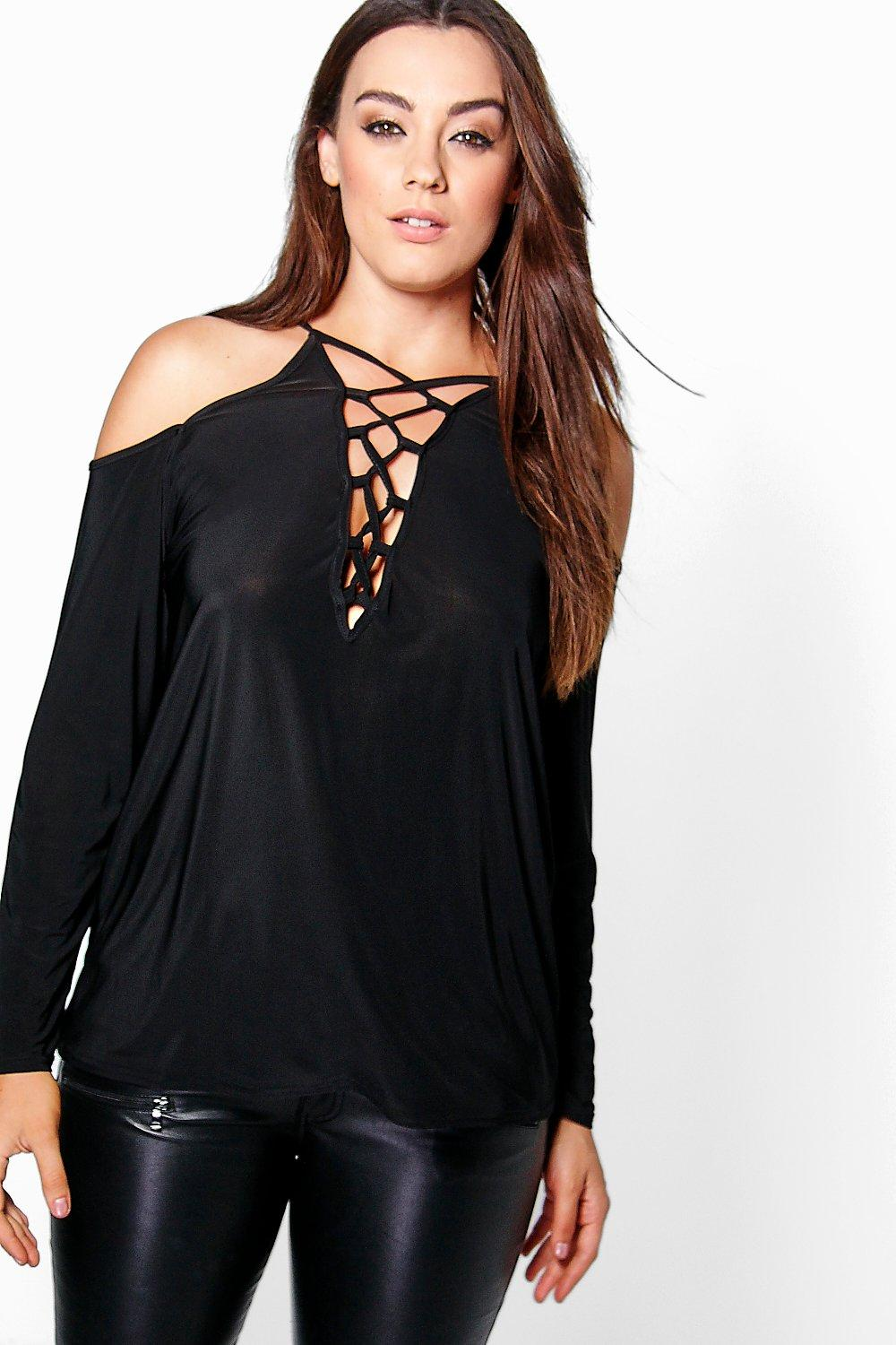 Plus Jaclyn Lace Up Detail Long Sleeve Top