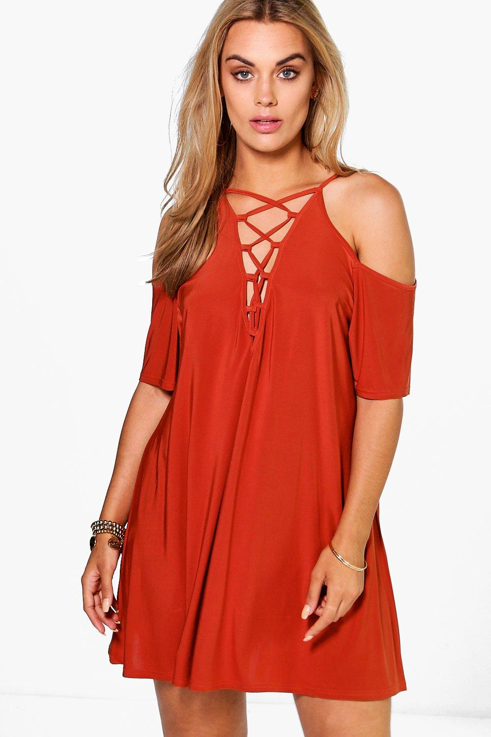 Plus Bianca Lace Up Open Shoulder Detail Dress