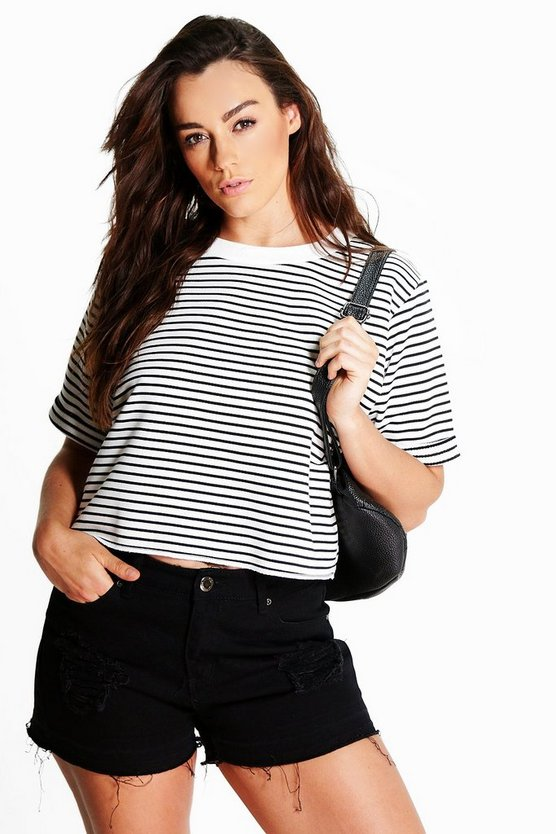 Plus Tanya Turn Back Cuff Stripe Crop Top