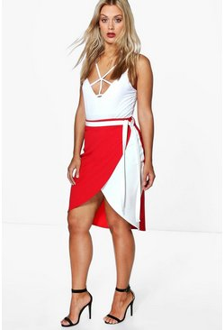 Plus Stacie Wrap Over Tie Waist Skirt
