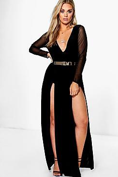 Plus Karina Plunge Split Maxi Dress