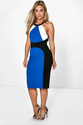 Plus Molly Colour Block Midi Dress
