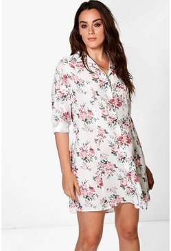 Plus Orla Floral Lace Back Shirt Dress