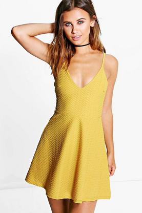 Petite April Textured Strappy Skater Dress