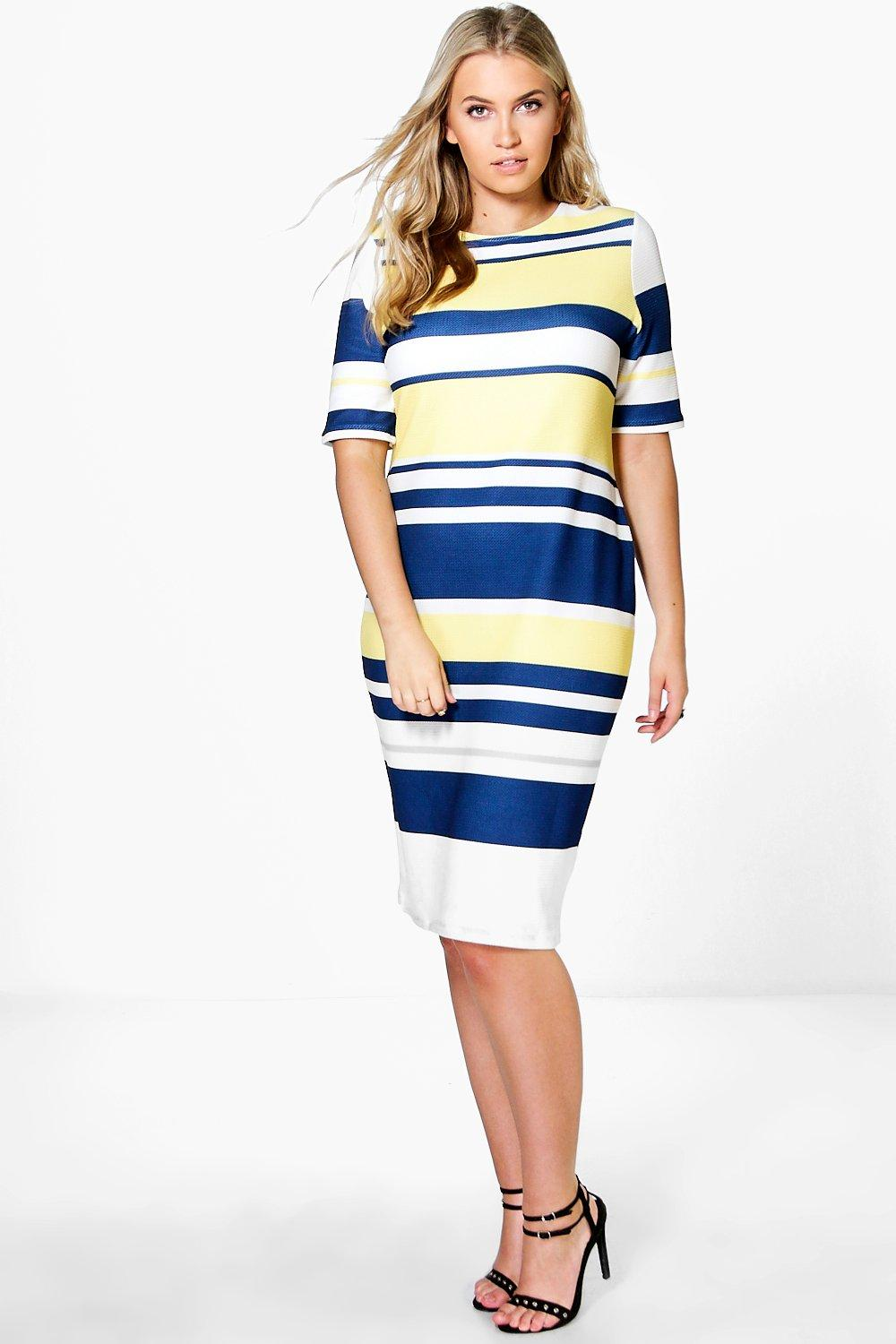 Plus Sophia Midi Stripe Dress