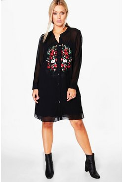 Plus Aura Embroidered Panel Shirt Dress