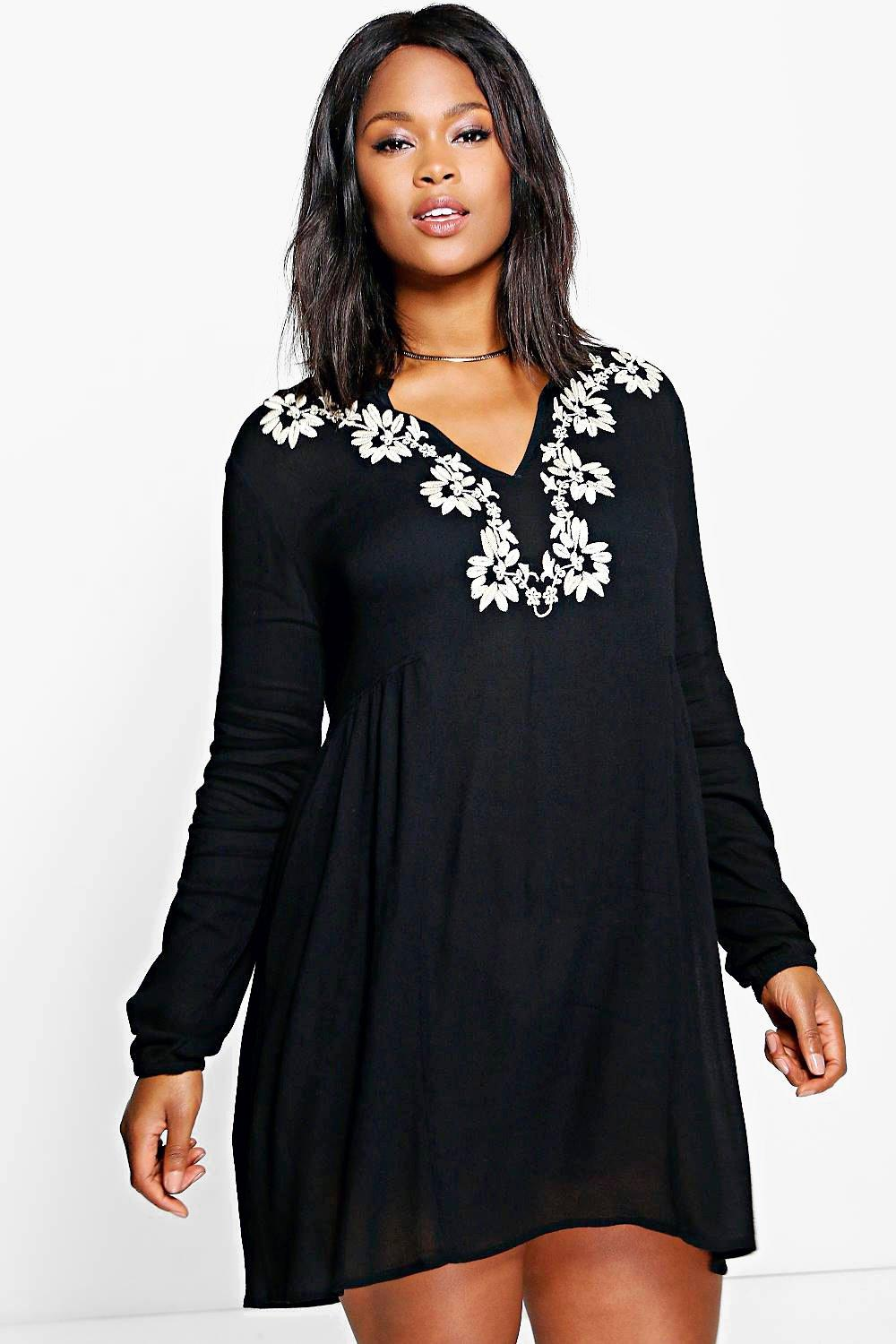 Plus Nori Embroidered Woven Smock Dress