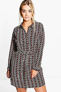 Plus Lucie Belted Printed Shirt Dress