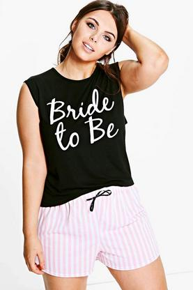 Plus Cleo Bride To Be Pyjama Short Set