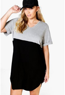 Plus Tia Colour Block T-Shirt Dress