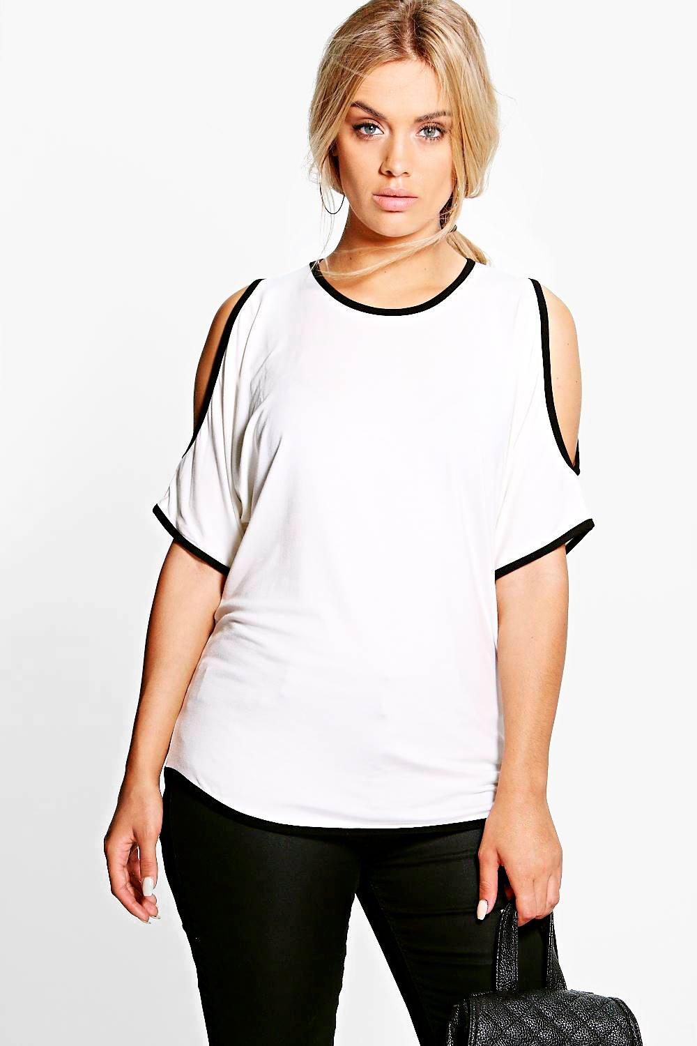 Plus Mindy Tipped Open Shoulder Tee