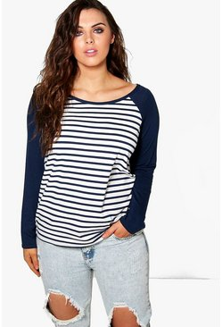 Plus Alivia Stripe Body Contrast Sleeve Top
