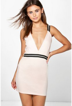 Petite Alexis Rib Trim Plunge Bodycon Dress