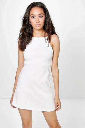 Petite Elisa Square Neck Eyelet Shift Dress