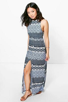 Petite Louella Printed Split Front Maxi Dress
