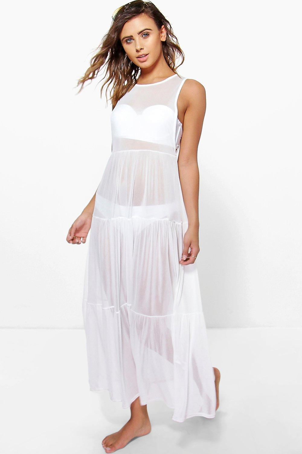 Lulu All Over Mesh Tiered Beach Cover Up white