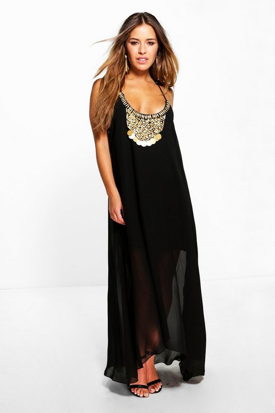 Petite Lorrae Beaded Necklace Dip Hem Maxi Dress