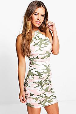 Petite Dani Camo Strappy Bodycon Dress