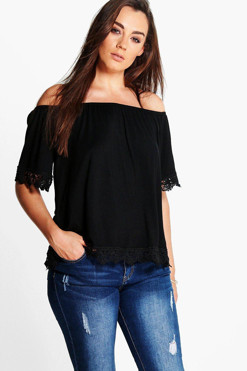 Plus Lilou Off The Shoulder Trim Detail Top