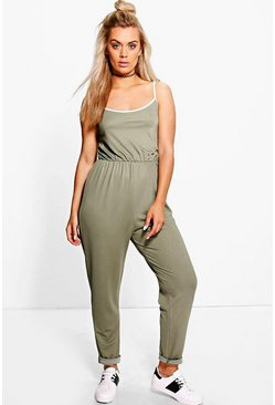 Plus Melanie Sport Tipped Jumpsuit