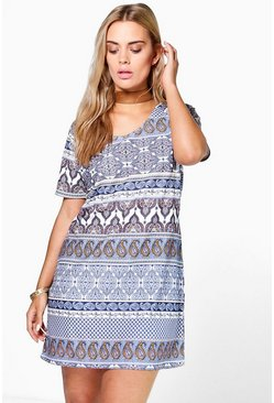 Plus Becki Printed Shift Dress