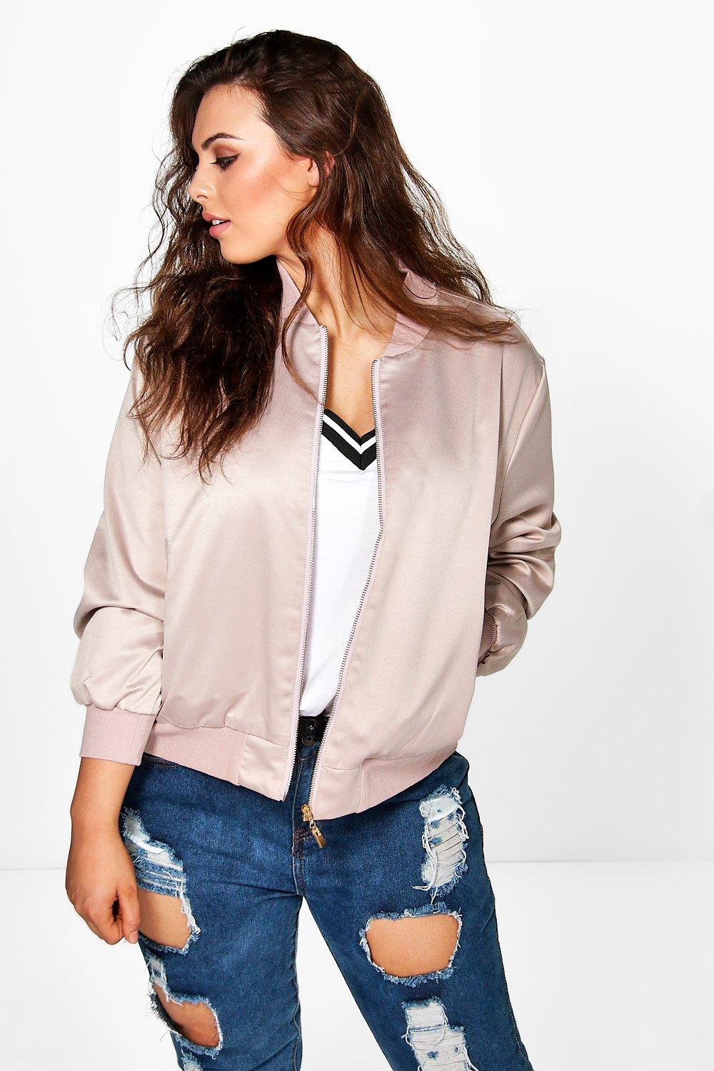 Plus Mila Premium Satin Bomber Jacket