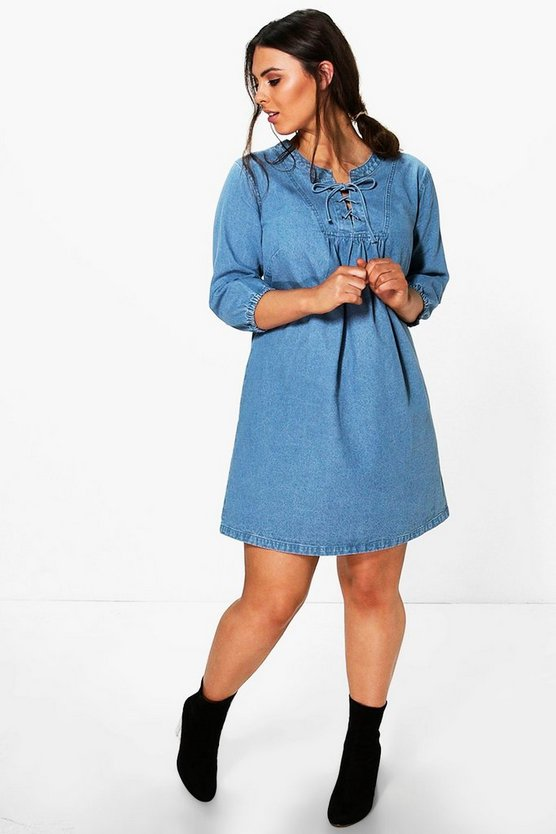 Plus Sheeva Lace Up Denim Dress