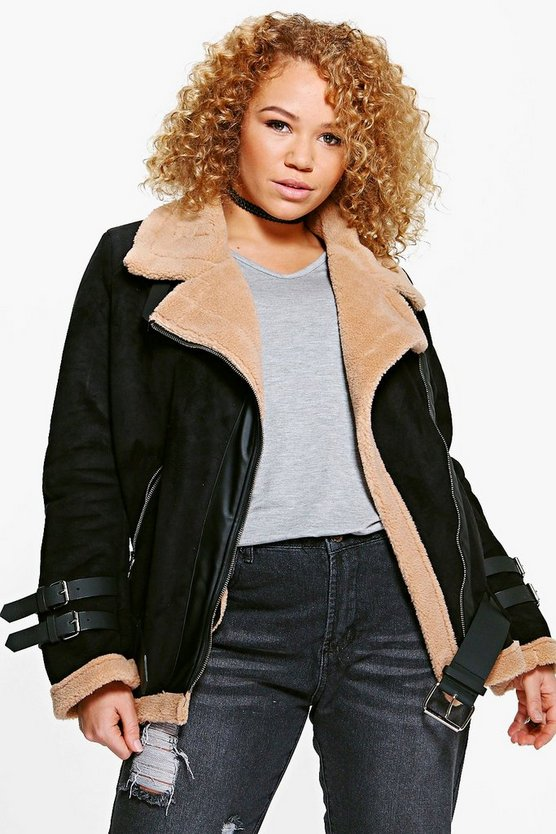 Plus Maurie Faux Fur Lined Aviator Jacket
