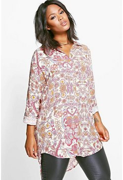 Plus Suki Oversized Printed Shirt