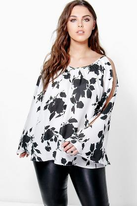 Plus Arla Floral Open Shoulder Top